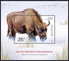 Romania new post stamp Protected fauna in Romania - s/s