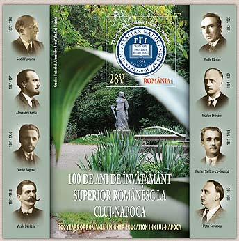 Romania new post stamp 100 years of Romanian higher education in Cluj-Napoca s/s